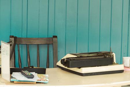old desk: Old typewriter on a wooden desk