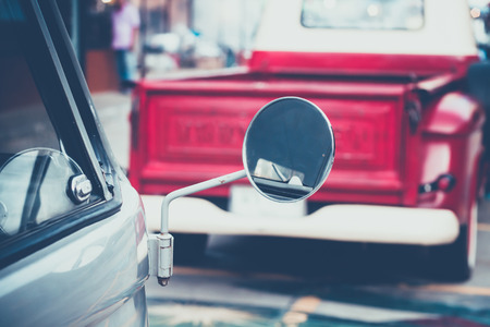 motor car: Close up mirror classic vintage car