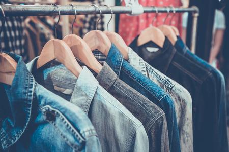 Selective focus blue jaens  shirt on rack