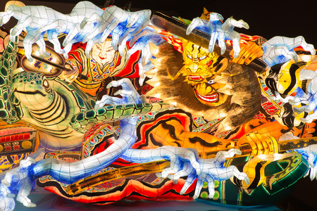 Aomori, Japan - October 12, 2016 - one of the giant illuminated Nebuta float shows in the summer festival Nebuta Matsuri which is the annual event in Aomori
