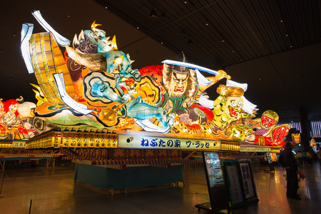 power giant: Aomori, Japan - October 12, 2016 - one of the giant illuminated Nebuta float shows in the summer festival Nebuta Matsuri which is the annual event in Aomori