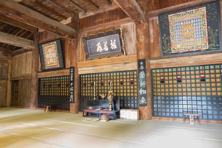 dogma: YAMADERA-JAPAN,OCTOBER 11,2016; Center of chapel in Shrine temple for monk activity riligion , Yamadera Japan.