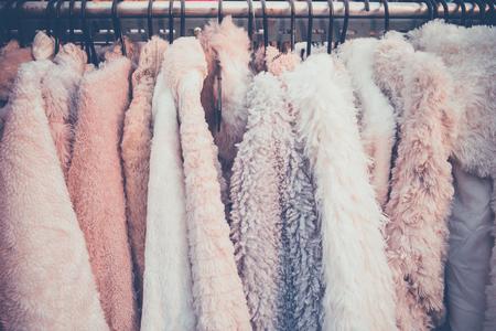 The various fur coats on rack Stock Photo