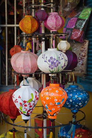 Selective focus Traditional Vietnamese silk lanterns in Old Town Hoi An, Central Vietnam. Stock Photo