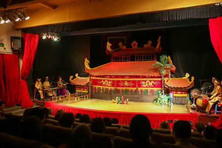 HOCHIMINH - NOVEMBER 04, 2016: Vietnamese water puppet show at Golden Dragon Water Puppet Theater Novembre 04, 2016. in Ho Chi Minh, Vietnam Editorial