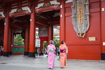 TOKYO-JAPAN-OCTOBER  14,2016 ; Tree women wearing Kimono suit taked image at Asakusa Shrine temple , this temple famous from Japanese people and tourist a lot of  visit