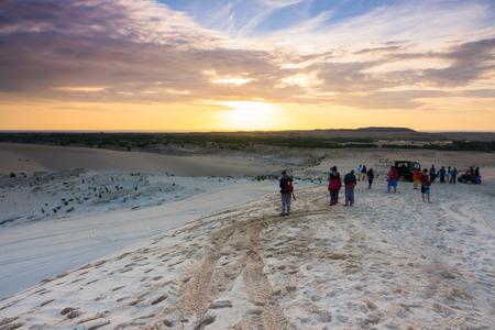 Sunlight white Sand Dunes in Mui Ne, Phan Thiet, Vietnam. Popular tourist attraction