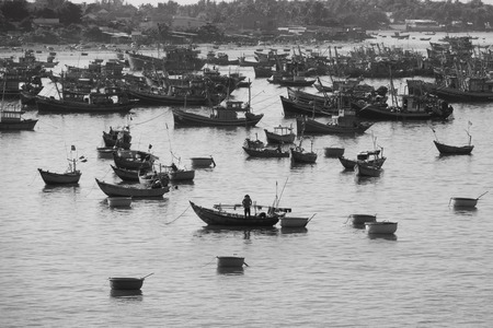 blackwhite: Black&White image of fishing boat on Mui Ne , Vietnam