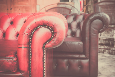 vintage furniture: A part of leather  classic sofa and vintage furniture