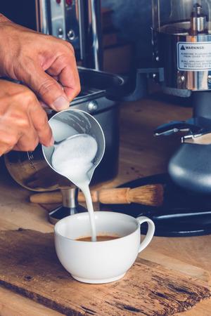 preparing coffee with milk cappuccino coffee