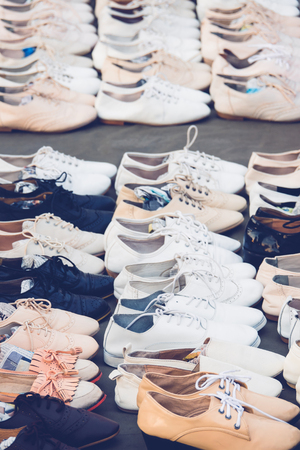 plimsoll: Selective focus variety Leather Shoes in the Shop Stock Photo