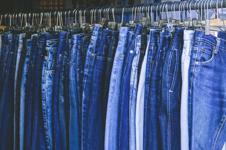 Selective a blue denim jeans in various shades of blue