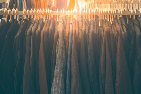 Fashion jacket on hangers , Retro image Stock Photo