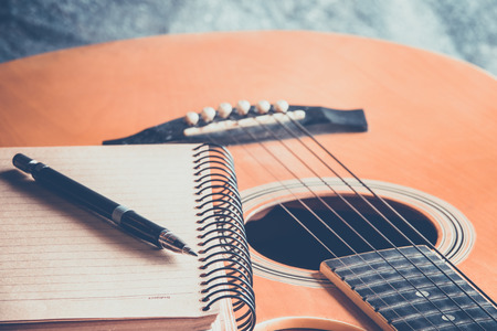musical score: Guitar with blank page for composing and creativity music Stock Photo
