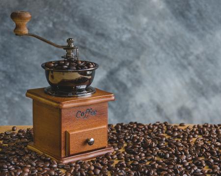 Vintage coffee grinder manual process