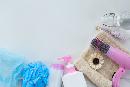 Cosmetics for women hair care and spa with accesories for shower in bathroom