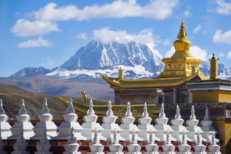Tagong temple  and  Tibetan holy mountain Mt. Yala and Sichuan, China.