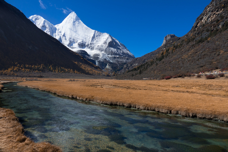 Colorful in autumn forest and snow mountain at Yading nature reserve, The last Shangri la, Daocheng-Yading, Sichuan, China Stock Photo - 121746699