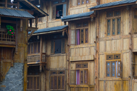Tradition house  of Chinese in Moxi city in China, Ancient house made from wood