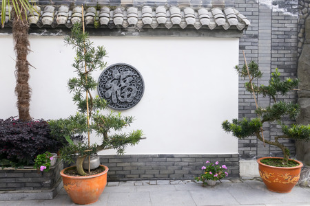 Chinese garden style with copy space on wall