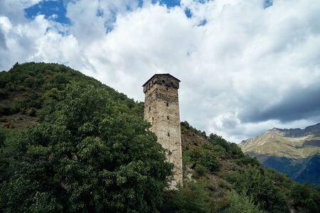 Svan tower, Svaneti Georgia. Cloudy, drone shooting Zdjęcie Seryjne