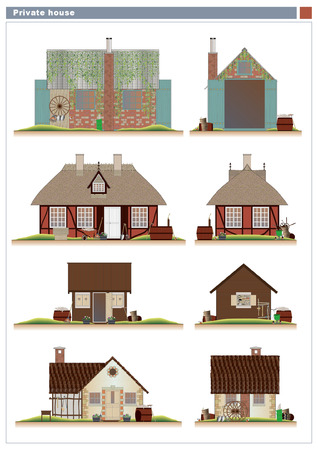 clipart chimney: Various houses