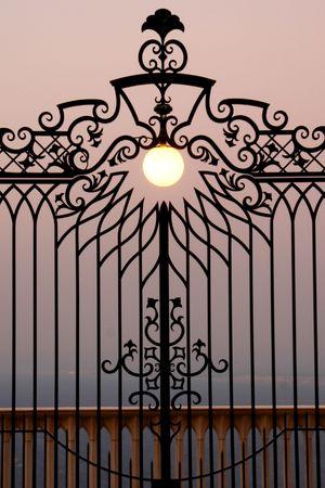 haifa: the symmetric gate of the baahi center in haifa israel Stock Photo