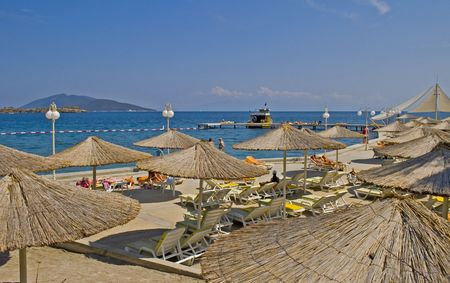 sunshades: sunshades in the resort town of Bodrum