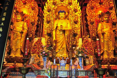 shrine: Interior of Chinese buddhist shrine in the city of Shanghai China