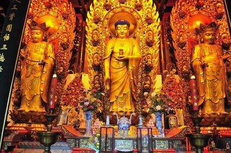 Interior of Chinese buddhist shrine in the city of Shanghai China