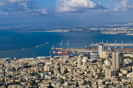 view to the port of Haifa in Israel Stock Photo - 4388174