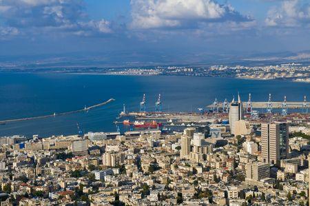 haifa: view to the port of Haifa in Israel