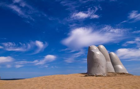 del: a famous sculpture in Uruguay Stock Photo