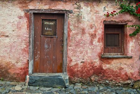street corner: Ditails in the Historic Quarter of the City of Colonia del Sacramento in Uruguay an Unesco world heritage site