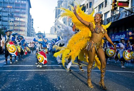 MONTEVIDEO, URUGUAY - FEBRUARY 1: participants dancers in the annual national festival of Uruguay , The main events and activities of this fiesta is usually made in Montevideo along with other activities in the inner towns and cities. Each year, governm