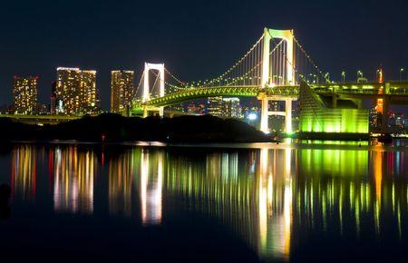 Tokyo Skyline at night and the Rainbow Bridge