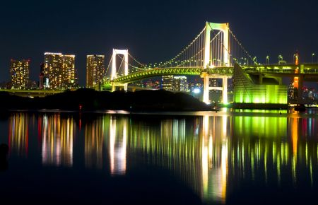 tokyo city:  Tokyo Skyline at night and the Rainbow Bridge