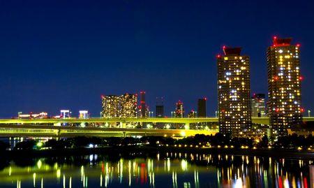 Tokyo Skyline at night and the Rainbow Bridge  photo