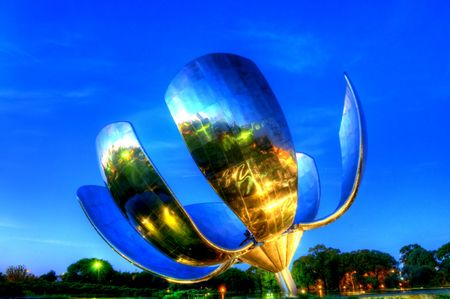 Large metal flower sculpture located in the United nations plaza in Recoleta, Buenos Aires, Argentina