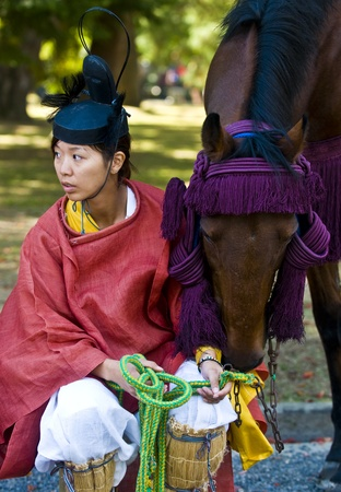 Kyoto, OCT  22: a participant on The Jidai Matsuri ( Festival of the Ages) held on October 22 2009  in Kyoto, Japan . It is one of Kyoto's renowned three great festivals Stock Photo - 8707283