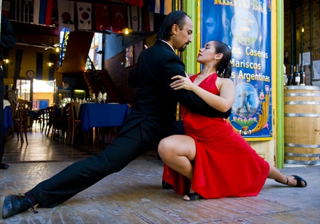 BUENOS AIRES  , ARGENTINA  - APR 10 2009 :  couple dancing tango in the street