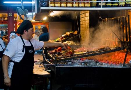 montevideo: MONTEVIDEO, URUGUAY - NOV 22 2008 :  barbecue in Montevideo resturant