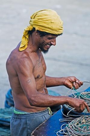 PUNTA DEL ESTE , URUGUAY  - DEC 07 2008 : Portrait of an Uruguayan fisherman