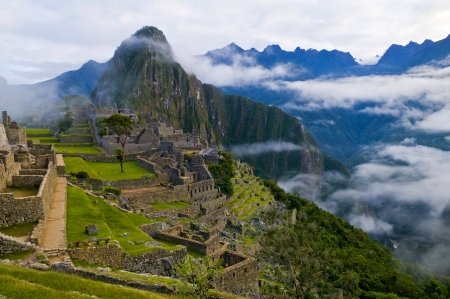 View of the archeological site of Machu Pichu Stock Photo