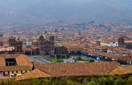 incan: View of the Peruvian city of Cusco the former capital of the Incan empire and  Stock Photo