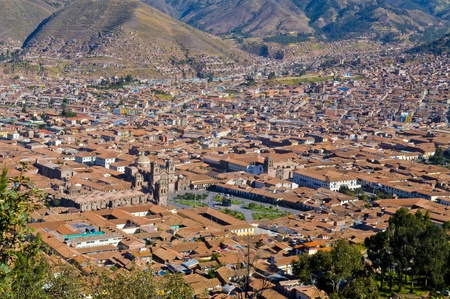 cusco: View of the Peruvian city of Cusco the former capital of the Incan empire and  Stock Photo