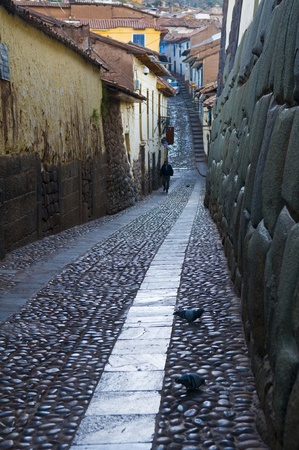 cusco: Old narrow street in the center of Cusco Peru Stock Photo