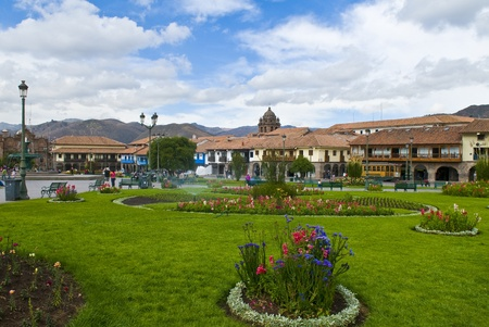 Cusco Peru , May 27 2011 : View of The Plaza de Armas in the center of Cusco Peru