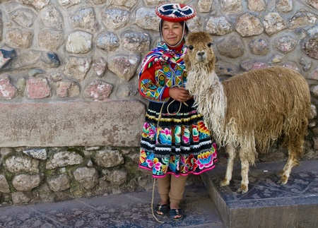 alpaca: CUSCO , PERU - MAY 27 : Unidentified Peruvian girl in traditional colorful clothes holding alpaca in the street of  the  Editorial
