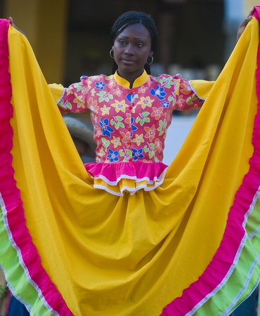 spanish ethnicity: Catagena de Indias , Colombia - December 22 : Dancer in the celebration for the presentation of the new city symbol held in Cartagena de indias on December 22 2010